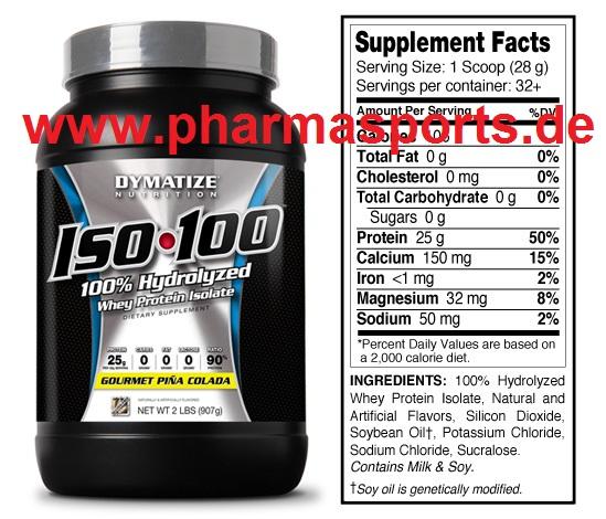 Dymatize - ISO-100 Molkeprotein-Isolat Preissenkung im Bodybuilding Muskelaufbau Shop Pharmasports