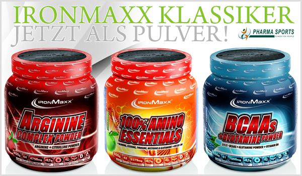 Die IronMaxx Klassiker ab sofort auch als Pulver-Supplemente