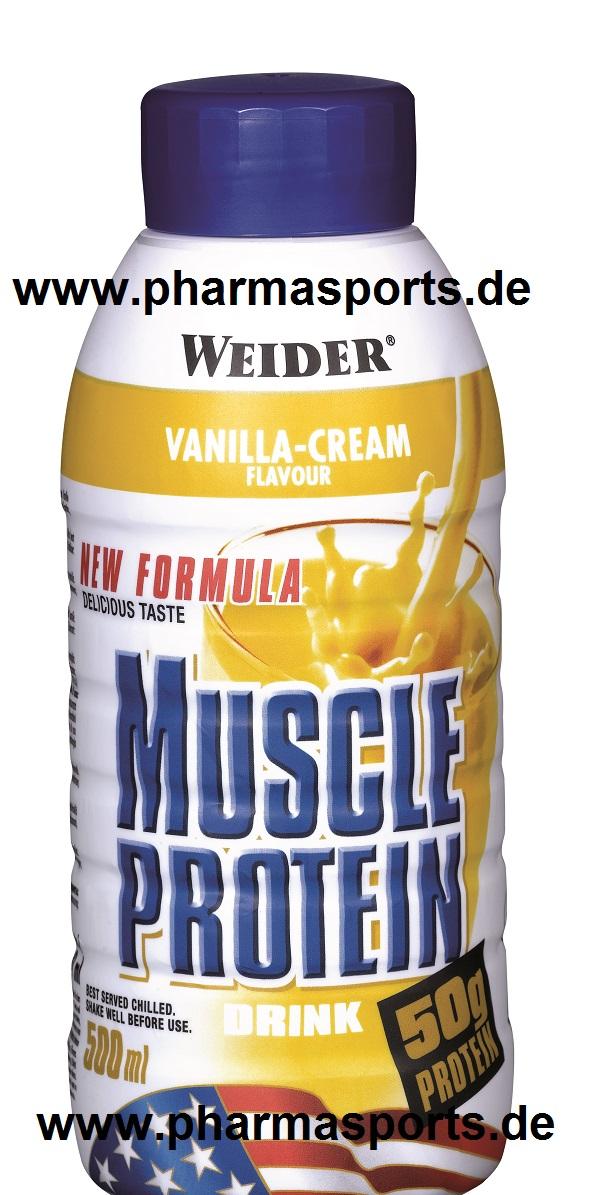 WEIDER Muscle Protein Drink Geschmack Vanille erst wieder in 4 Wochen lieferbar.
