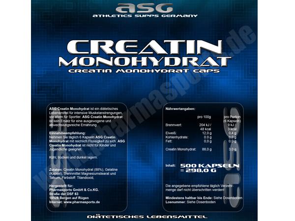 ASG Creatin Monohydrat Etikett