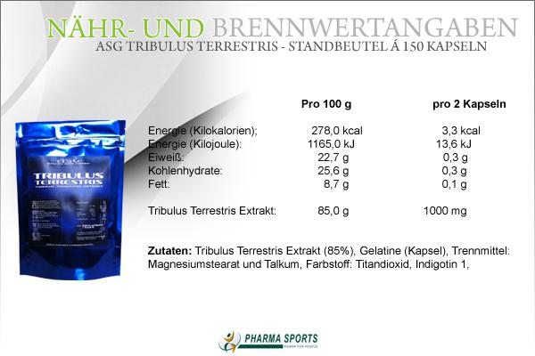 ASG Tribulus Terrestris - Nähr- und Brennwerte