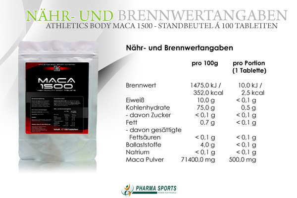 Informationen zu Athletics Body Maca 1500