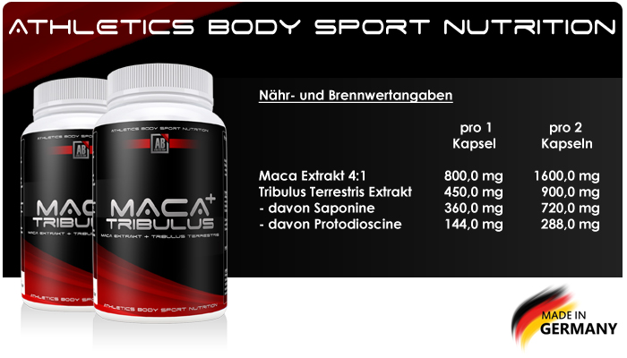 Athletics Body Maca + Tribulus Nährwerte