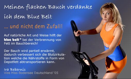 Der Bauchbereich wird durch den speziell dafür entwickelten und patentierten blue belt® zur Fettverbrennung angeregt.