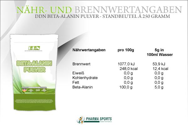 DDN Beta-Alanin Pulver - alle wichtigen Informationen zur Aminosäure Beta-Alanin und mehr bei Pharmasports