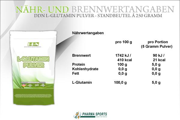 DDN L-Glutamin Pulver - Nähr- und Brennwerte, sowie weitere Informationen zu L-Glutamin