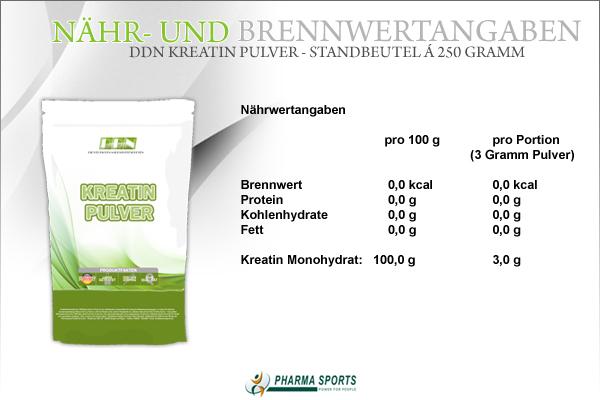 DDN Kreatin Pulver - Nähr- und Brennwerte zum bekannten Creatin Monohydrat