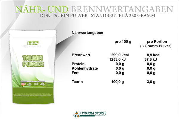 DDN Taurin Pulver - alle wichtigen Informationen zum Produkt bei Pharmasports