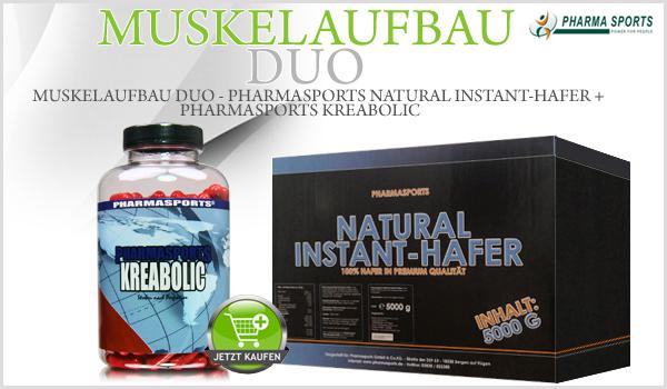 Muskelaufbau Duo - Pharmasports Natural Instant-Hafer + Kreabolic