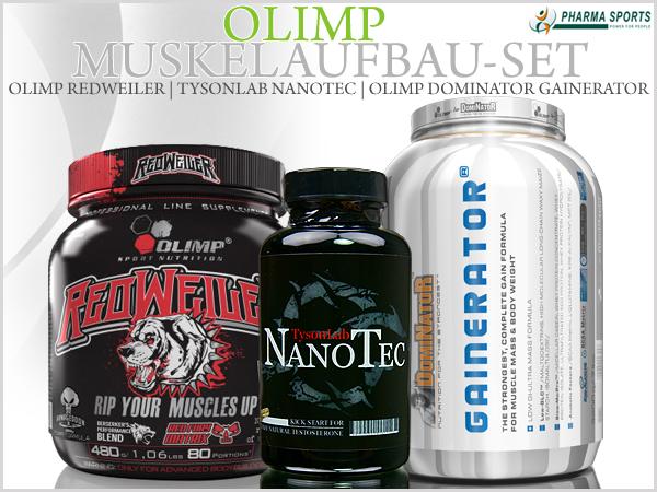 Olimp Muskelaufbau-Set (Olimp Redweiler, Gainerator & TysonLab Nanotec) bei Pharmasports