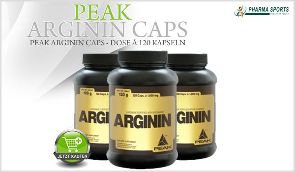 Peak Arginin Caps ab sofort im Sortiment bei Pharmasports