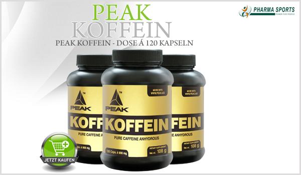 Der beliebte Energizer – Peak Koffein – nun auch bei Pharmasports