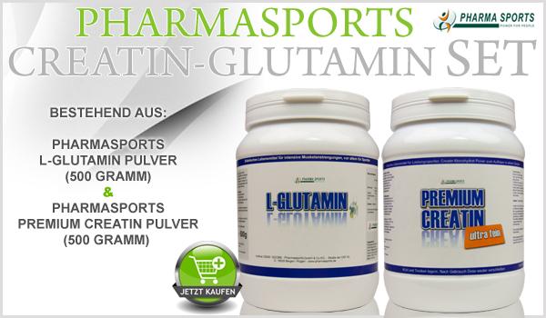 Gespart werden kann immer - mit dem Pharmasports Creatin-Glutamin Set!