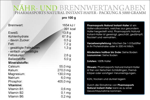 Pharmasports präsentiert den Natural Instant-Hafer