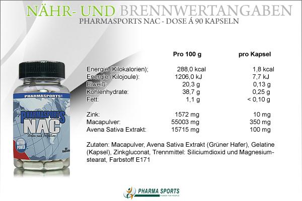 Pharmasports NAC - Dose á 90 Kapseln - Nähr- und Brennwerte