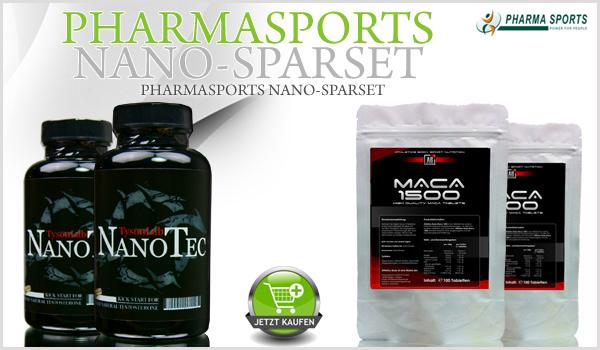 Pharmasports Nano-Sparset - bestehend aus 2 Dosen TysonLab NanoTec und 2 Packungen Athletics Body Maca 1500
