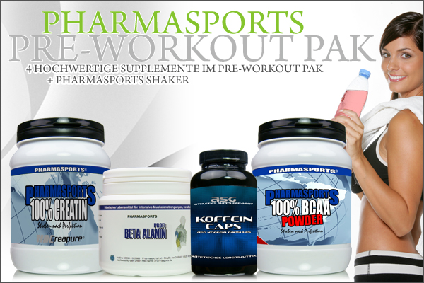 Pharmasports Pre-Workout Set - 4 hochwertige Supplemente + Shaker