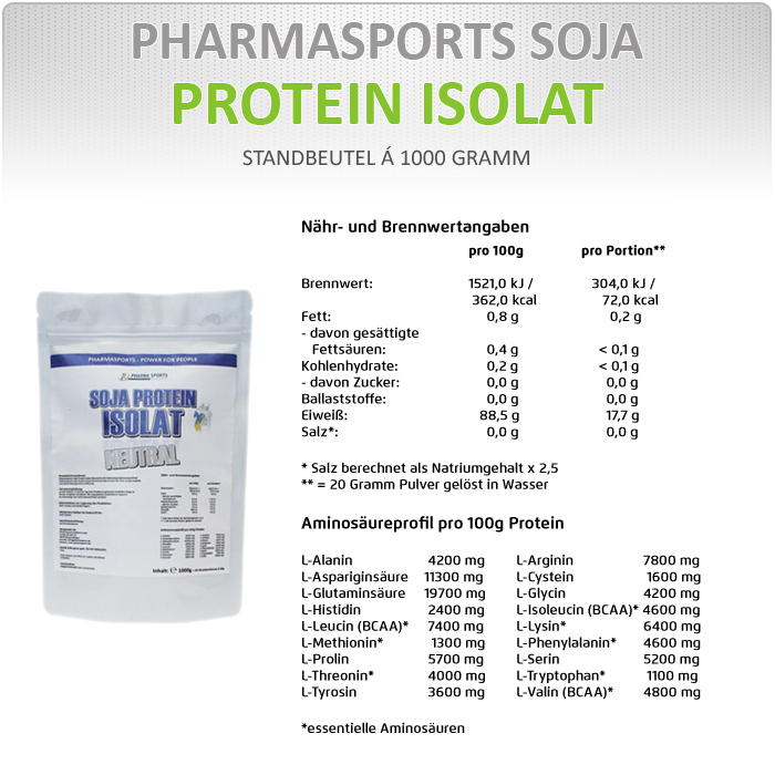 Inforrmationen zu Pharmasports Soja Protein Isolat Neutral
