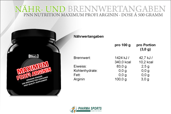 Informationen zu PNN Nutrition Maximum Profi Arginin