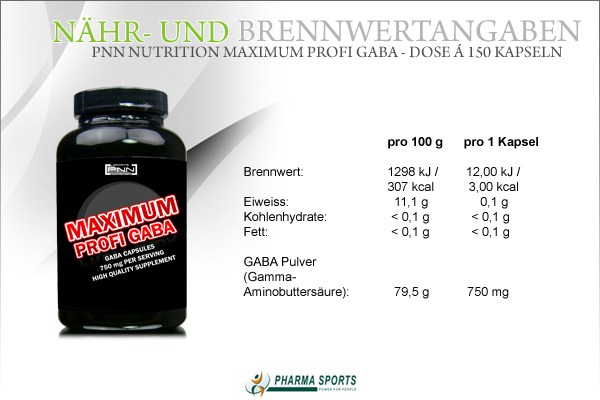 Informationen zu PNN Nutrition Maximum Profi Gaba bei Pharmasports