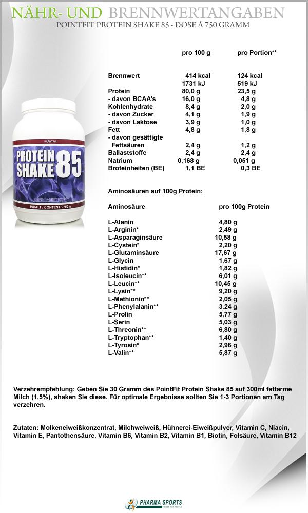 Nähr- und Brennwerte zu PointFit Protein Shake 85