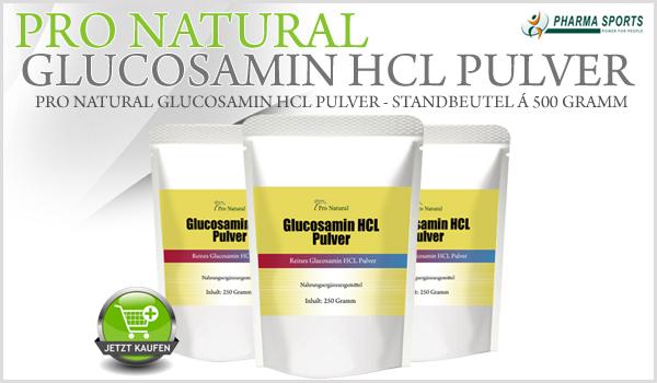 Pro Natural Glucosamin HCL Pulver - Standbeutel á 500 Gramm (0,5 Kilogramm)