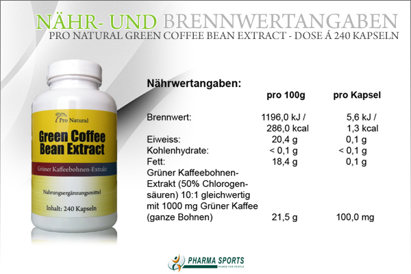 Pro Natural Green Coffee Bean Extract - Informationen wie Nähr- und Brennwerte bei Pharmasports