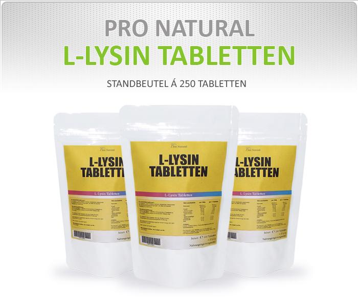 Pro Natural L-Lysin Tabletten - Standbeutel á 250 Tabletten