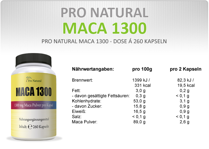 Pro Natural Maca 1300 Informationen