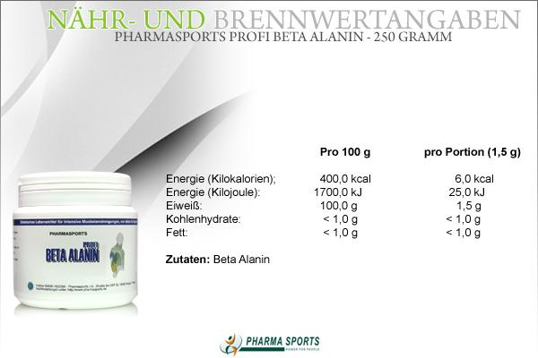 Pharmasports Profi Beta Alanin - 250 Gramm Beta Alanin