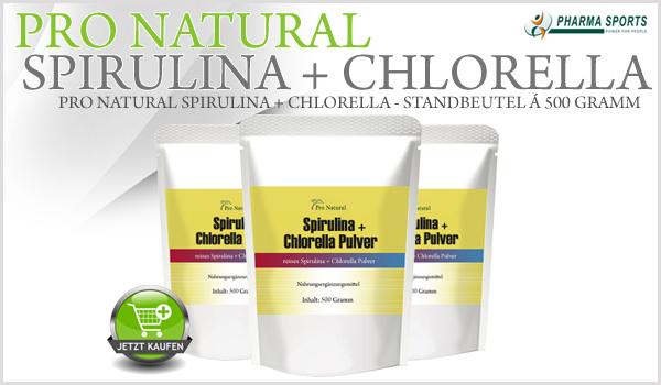 NEU bei Pharmasports - Pro Natural Spirulina + Chlorella im wiederverschließbaren Standbeutel