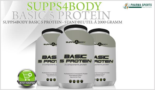 Neues bei Pharmasports - Supps4Body, mit dem Supps4Body Basic 5 Protein!
