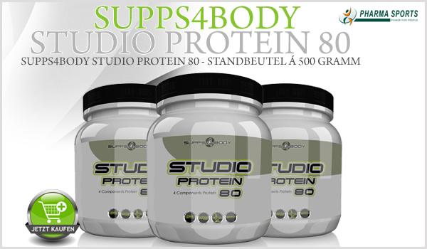 Supps4Body Studio Protein 80 - Standbeutel á 500 Gramm - hochwertiges Mehrkomponenten-Protein